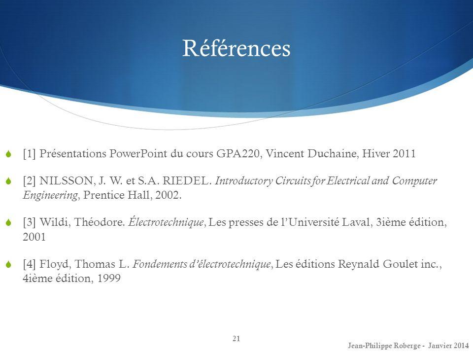 Références [1] Présentations PowerPoint du cours GPA220, Vincent Duchaine, Hiver 2011.